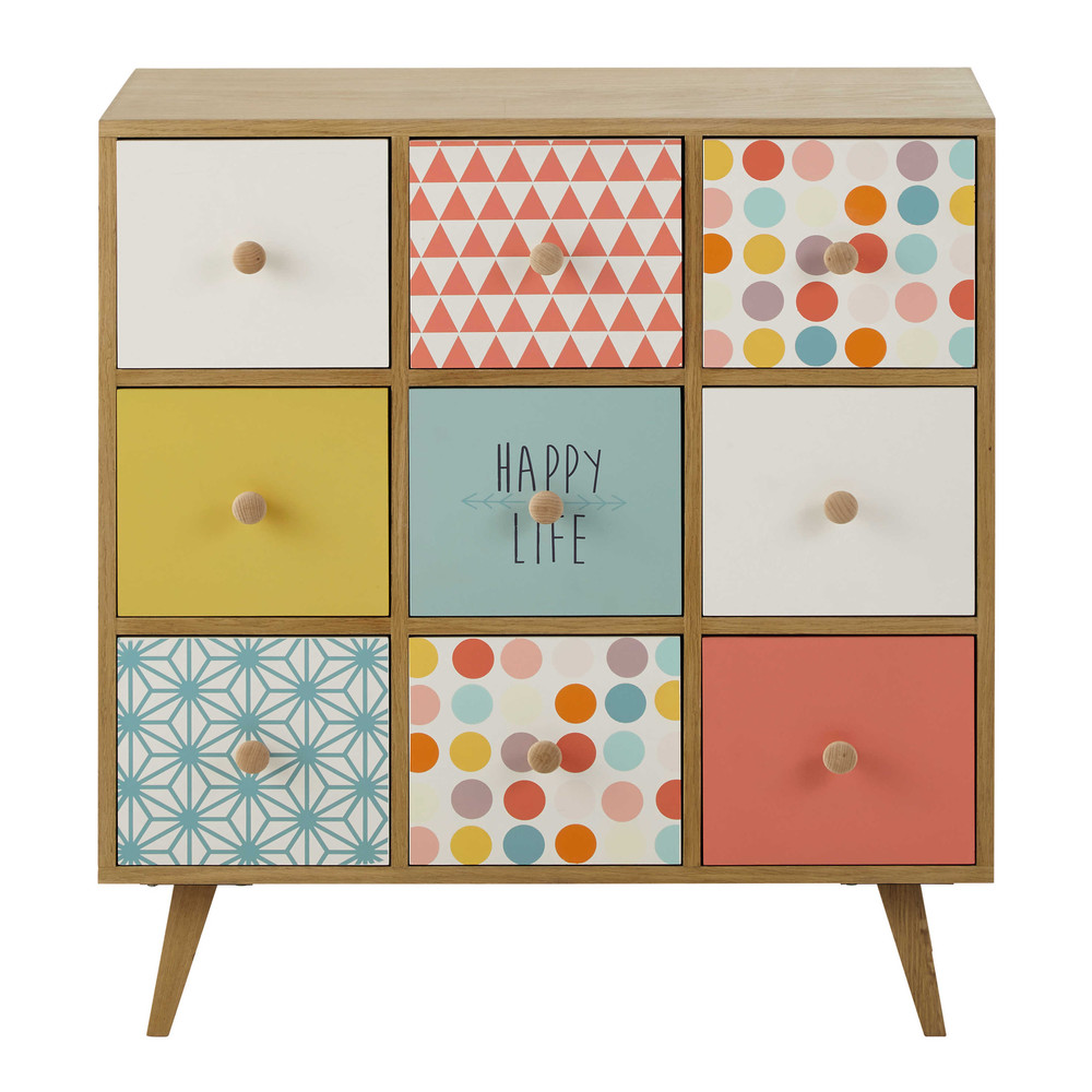 Cabinet de rangement 9 tiroirs multicolore Alix (photo)