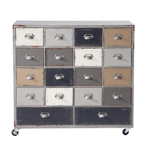 cabinet de rangement roulettes en bois gris l 85 cm od on maisons du monde. Black Bedroom Furniture Sets. Home Design Ideas