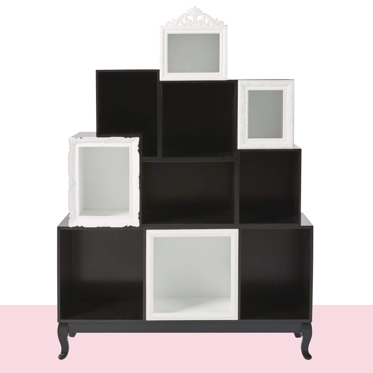 cabinet de rangement d structur noir et blanc maisons du monde. Black Bedroom Furniture Sets. Home Design Ideas