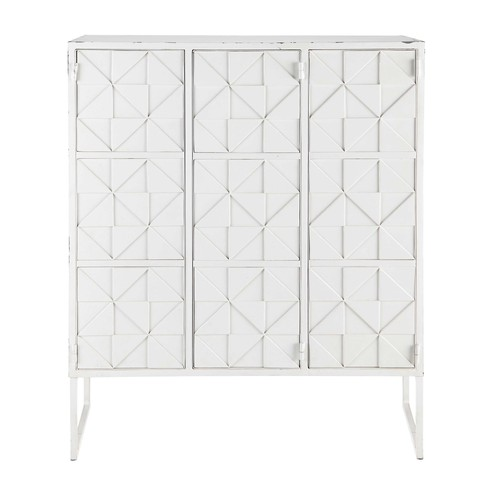 cabinet de rangement en m tal blanc l 102 cm iconik maisons du monde. Black Bedroom Furniture Sets. Home Design Ideas
