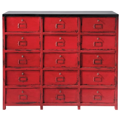 cabinet de rangement en m tal rouge l 115 cm vermillon. Black Bedroom Furniture Sets. Home Design Ideas