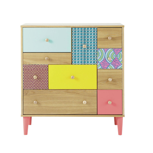 cabinet de rangement imprim en bois multicolore l 84 cm bamako maisons du monde. Black Bedroom Furniture Sets. Home Design Ideas