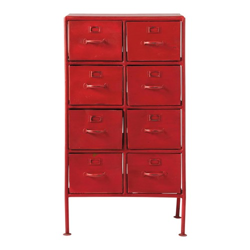 cabinet de rangement indus en m tal rouge l 52 cm cranberry maisons du monde. Black Bedroom Furniture Sets. Home Design Ideas