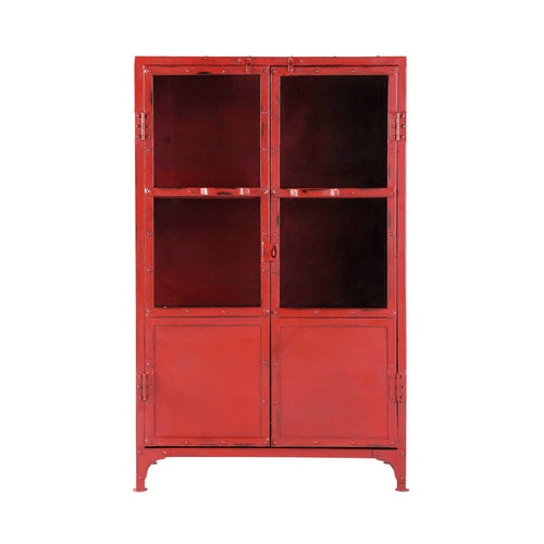 cabinet de rangement vitr indus en m tal rouge l 75 cm. Black Bedroom Furniture Sets. Home Design Ideas
