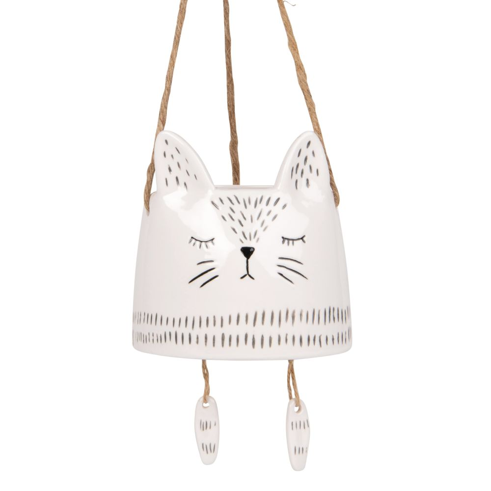 Cache-pot chat suspendu en porcelaine blanche et corde H51 (photo)