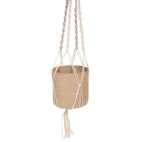 cache pot suspendu en jute et macram cru white island maisons du monde. Black Bedroom Furniture Sets. Home Design Ideas