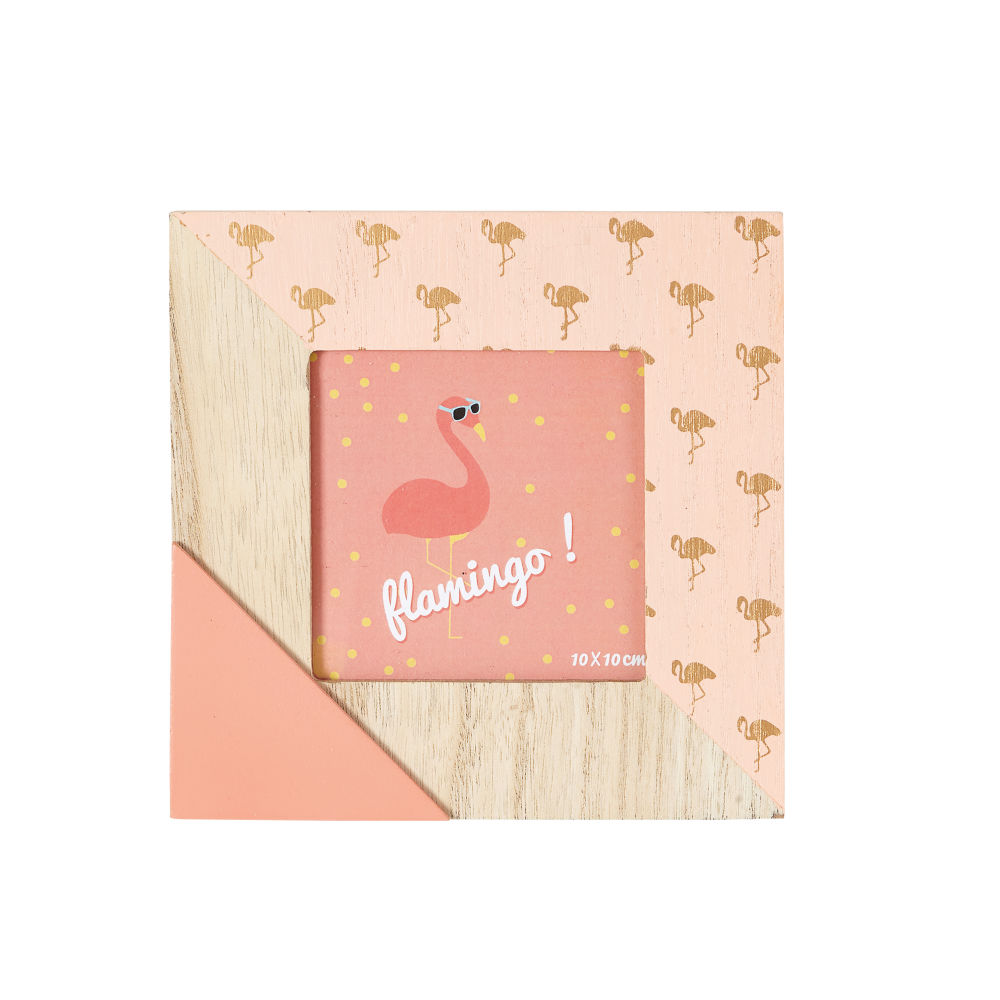 Cadre photo 10x10 motif flamant rose (photo)