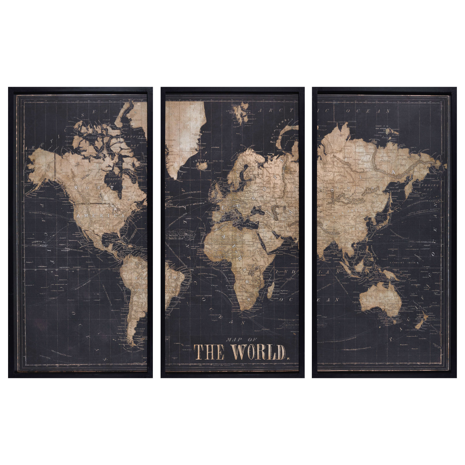 cadre triptyque carte du monde noir 180x120 maisons du monde. Black Bedroom Furniture Sets. Home Design Ideas