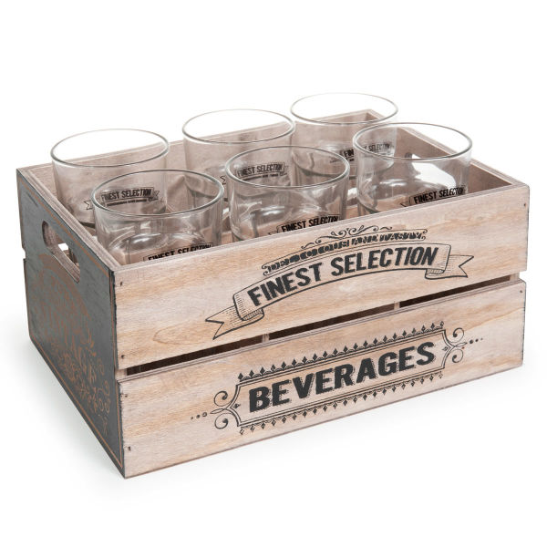 Caisse de 6 verres en verre VINTAGE COLLECTION