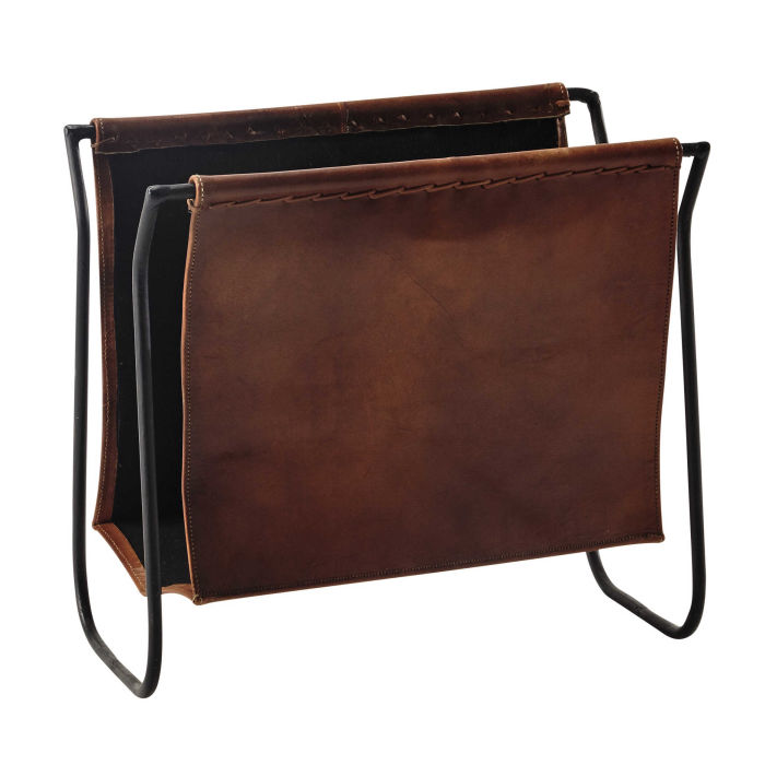 leather and metal magazine rack in brown Calvin | Maisons du Monde