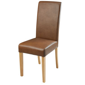 Camel coated textile and rubberwood chair