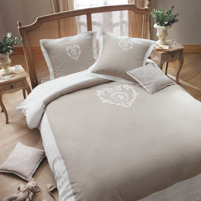cotton bedding set, beige, 240 x 260 cm Camille | Maisons du Monde