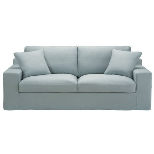 Canap 3 places convertible lin bleu gris stuart for Canape couchage permanent