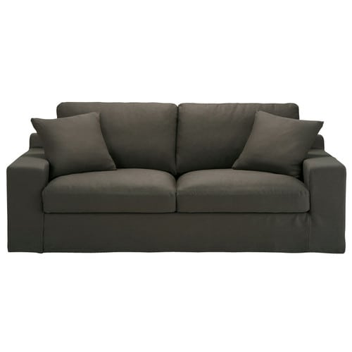 Canap 3 places convertible lin taupe gris stuart for Canape couchage permanent