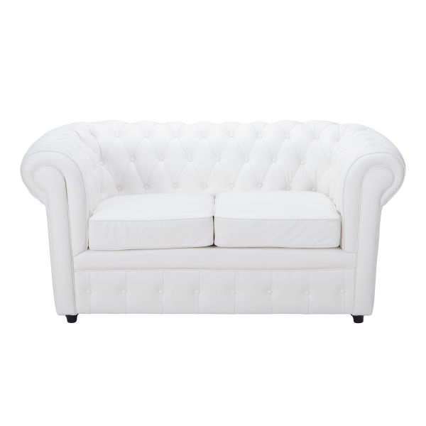 Canapé capitonné 2 places blanc Chesterfield
