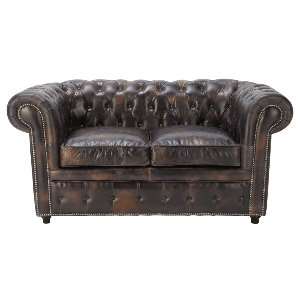 Canapé capitonné 2 places en cuir marron moka Chesterfield