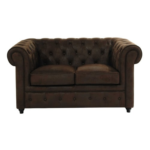 Canap capitonn 2 places marron chesterfield maisons du for Canape 2 places marron
