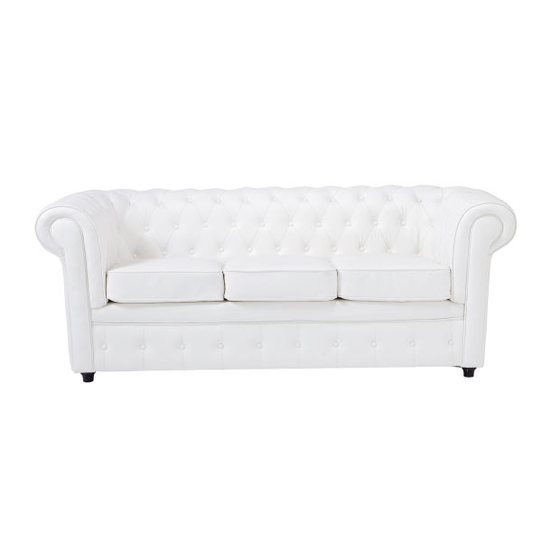 Canapé capitonné 3 places blanc Chesterfield