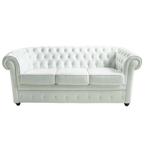 canap capitonn 3 places en cuir blanc chesterfield. Black Bedroom Furniture Sets. Home Design Ideas