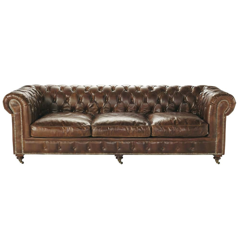 Canapé capitonné vintage 4 places en cuir marron Chesterfield