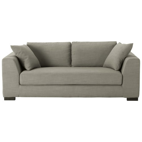 Canap convertible 2 3 places en tissu monet gris clair for Canape couchage permanent