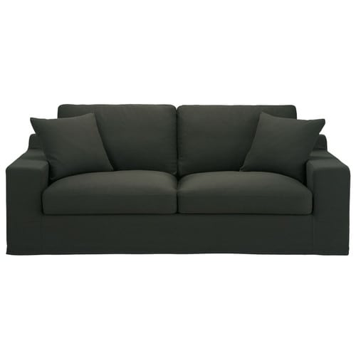 Canap convertible 3 places en coton anthracite stuart for Canape couchage permanent