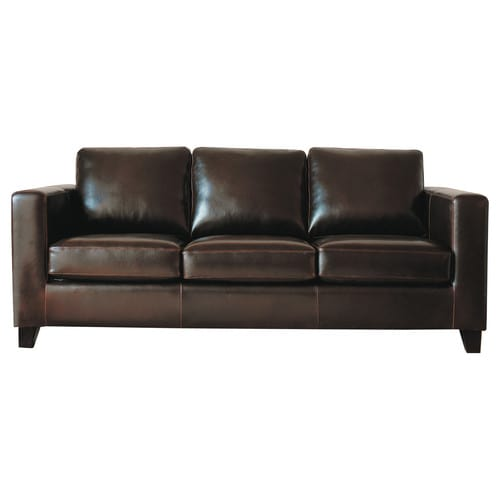 Canap convertible 3 places en cro te de cuir chocolat kennedy maisons du m - Canape cuir 3 places convertible ...