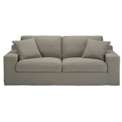 Canap convertible 3 places en tissu monet gris clair for Canape couchage permanent