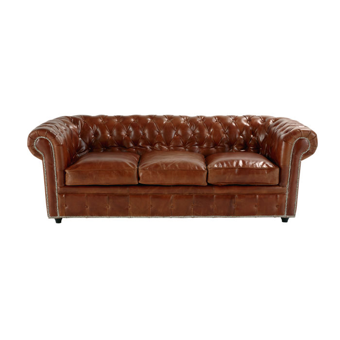 Canapé convertible capitonné Chesterfield 3 places en cuir marron