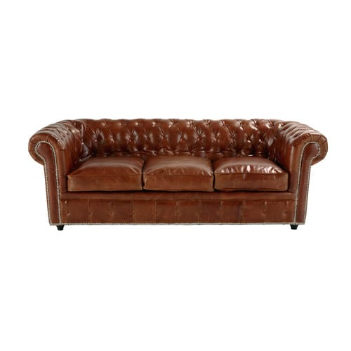 canap 233 convertible capitonn 233 chesterfield 3 places en cuir marron vintage maisons du monde