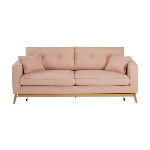 Canap convertible scandinave 3 places en tissu rose - Canape convertible rose ...