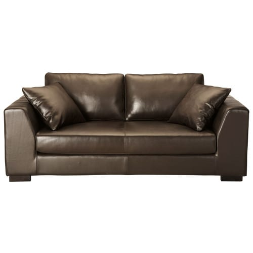 Canap cuir 2 3 places convertible marron terence for Canape couchage permanent