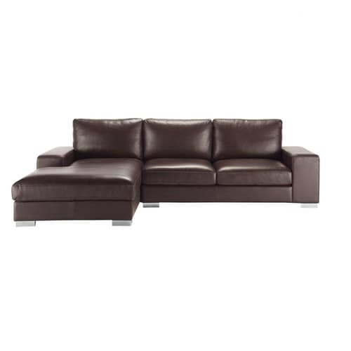 Canap d 39 angle 5 places en cuir marron new york maisons - Canape d angle 5 places cuir ...