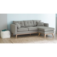 Canape D Angle Modulable Style Scandinave 4 5 Places Gris Clair