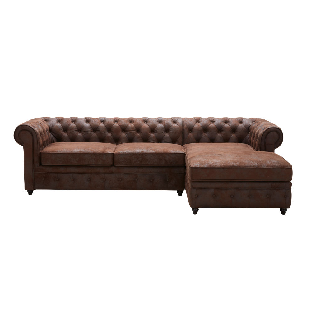 Canapé d'angle droit convertible 5 places en suédine marron Chesterfield