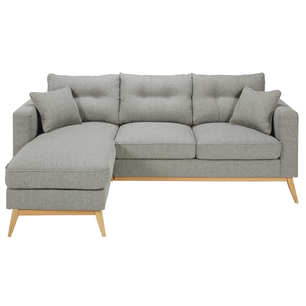 Canapé d'angle style scandinave 4/5 places gris clair Brooke