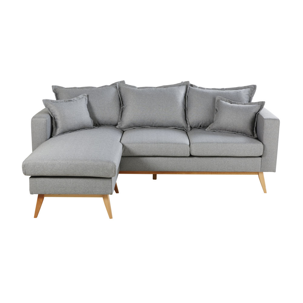 Canapé d'angle style scandinave 4/5 places gris clair Duke