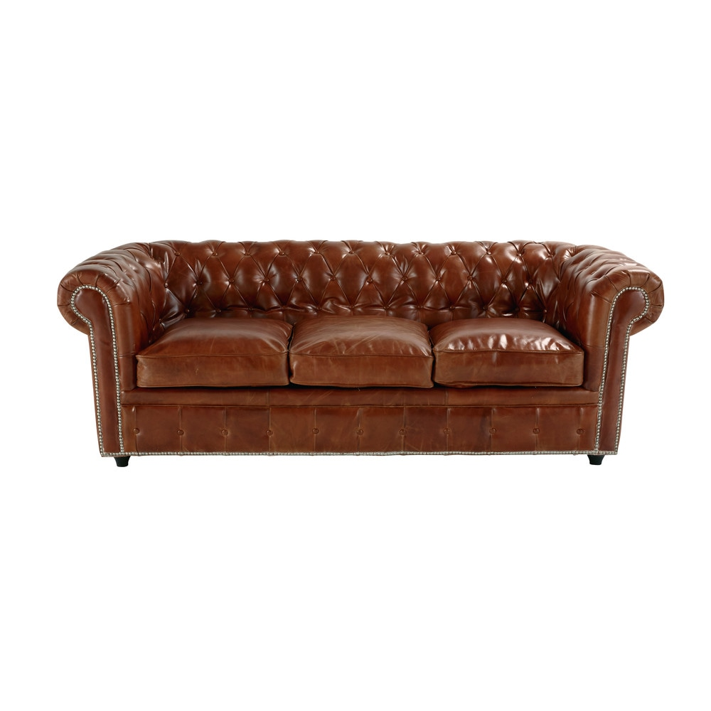 Canapé-lit 3 places en cuir marron Chesterfield