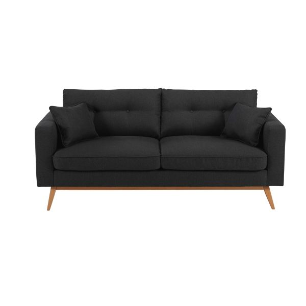 Canapé scandinave 3 places en tissu anthracite Brooke