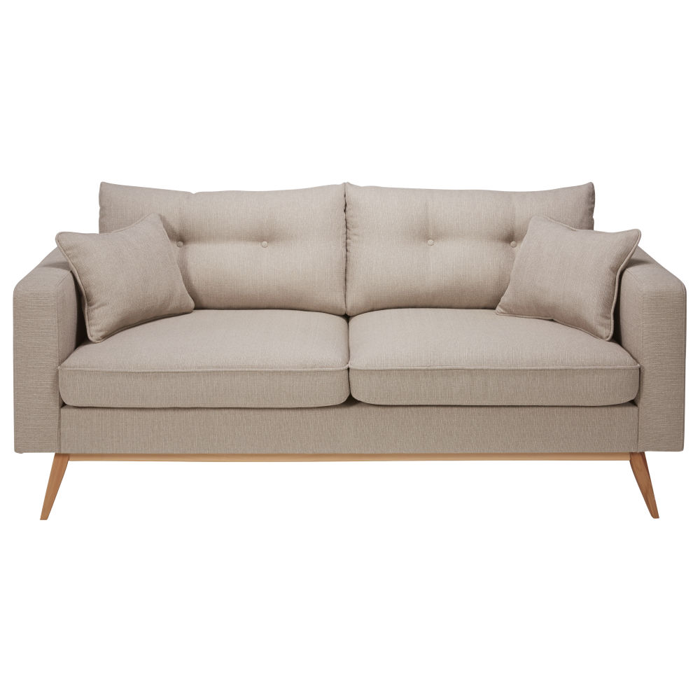Canapé style scandinave 3 places beige Brooke