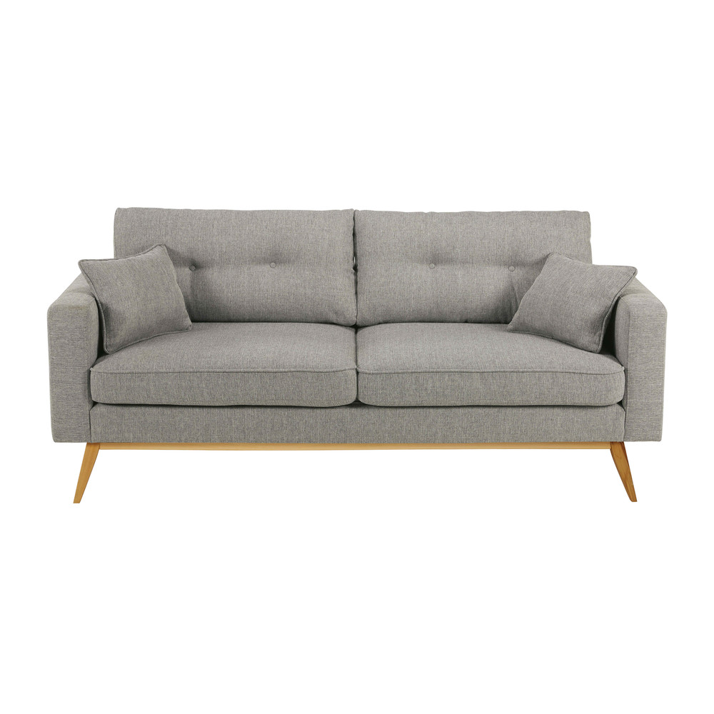 Canapé style scandinave 3 places gris clair Brooke