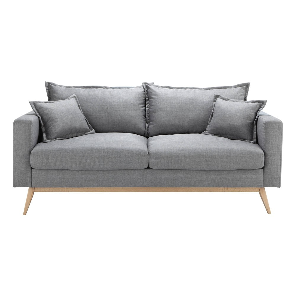 Canapé style scandinave 3 places gris clair Duke
