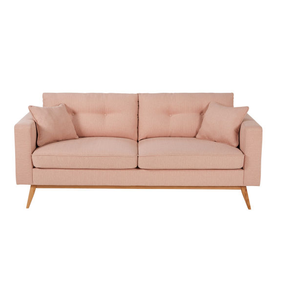 Canapé style scandinave 3 places rose clair Brooke