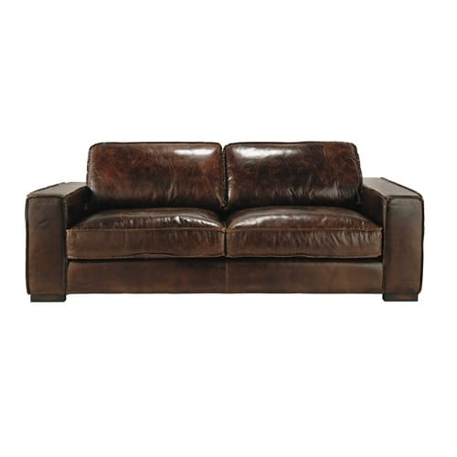 Canap vintage 3 places en cuir marron colonel maisons for Plaid canape 3 places