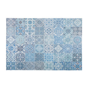 CAPRI fabric rug with blue cement tile checked motifs 155 x 230 cm
