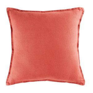 Carmine Red Washed Linen Cushion 45x45