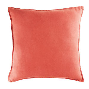 Carmine Red Washed Linen Cushion 60x60