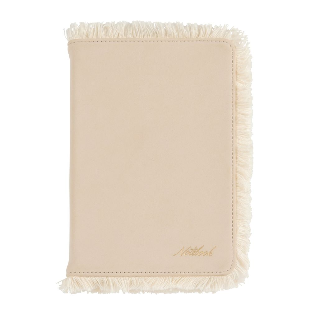 Carnet de notes beige avec franges (photo)