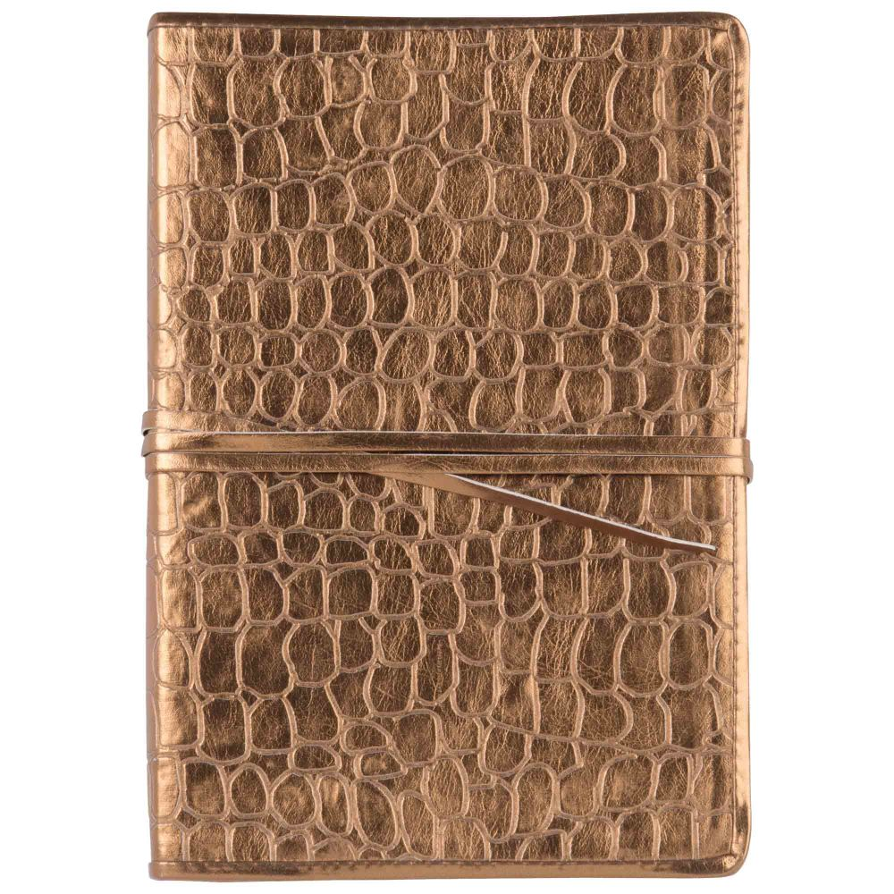 Carnet de notes coloris bronze effet croco (photo)