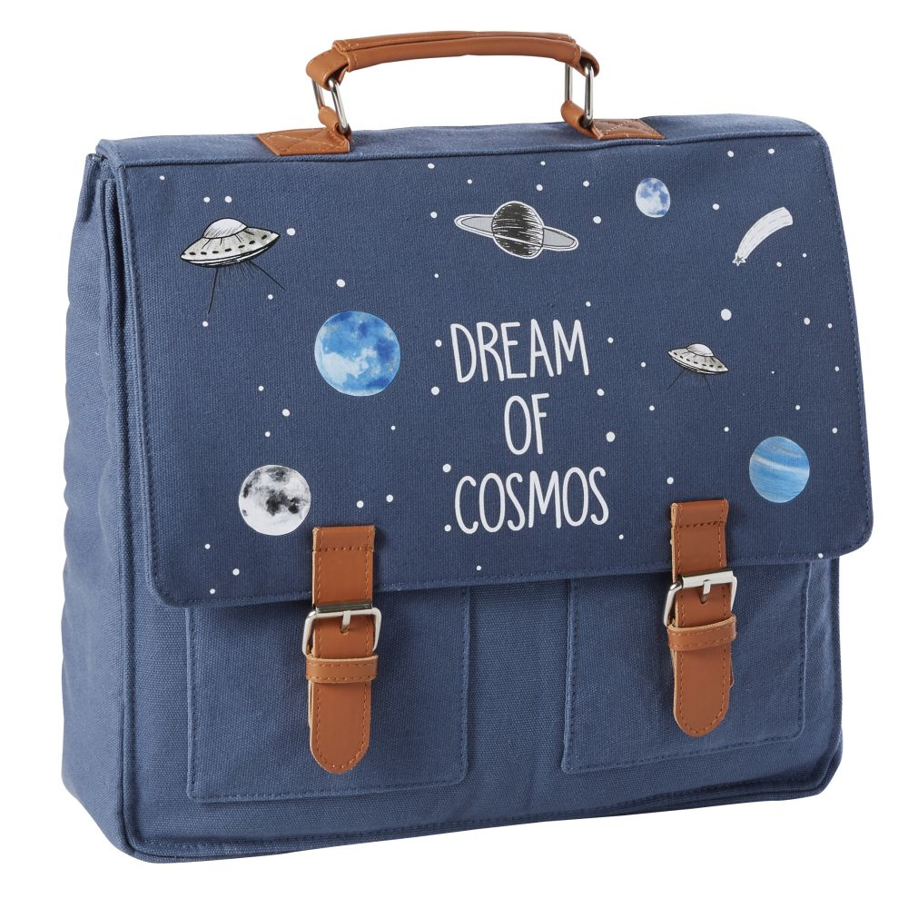 Cartable en coton bleu marine imprimé (photo)
